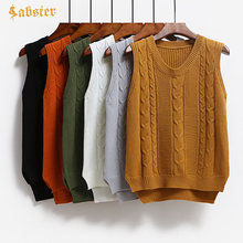 4967a5e7 2018 New Arrival Autumn Sleeveless Knitted Vest Women V-Neck Pullover Women  Knitted Sweater Solid