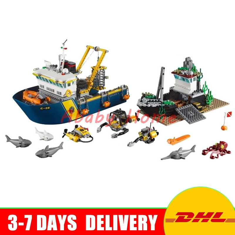 DHL Lepin 02012 City Series Deep Sea Exploration Vessel Children Education Building Blocks Bricks Toys Model Gifts Clone 60095 774pcs city deep sea explorers 02012 model exploration vessel building blocks bricks children toys ship kit compatible with lego