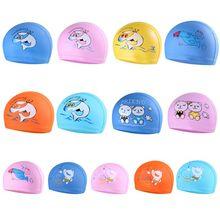 Детская шапочка для плавания с изображением животных из мультфильмов, водонепроницаемая ткань из ПВХ, защищающая уши