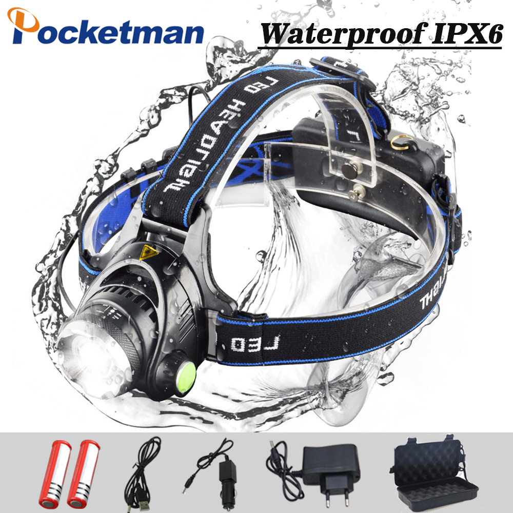 8000 lumen LED headlamp T6 L2 headlight 3 modes Zoomable lamp Waterproof Head Torch flashlight Head lamp use 18650