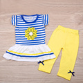 2PCS Kids Baby striped Dress Tops + Pants Girls flower T-shirts Short Sleeve Summer Outfits Clothes set