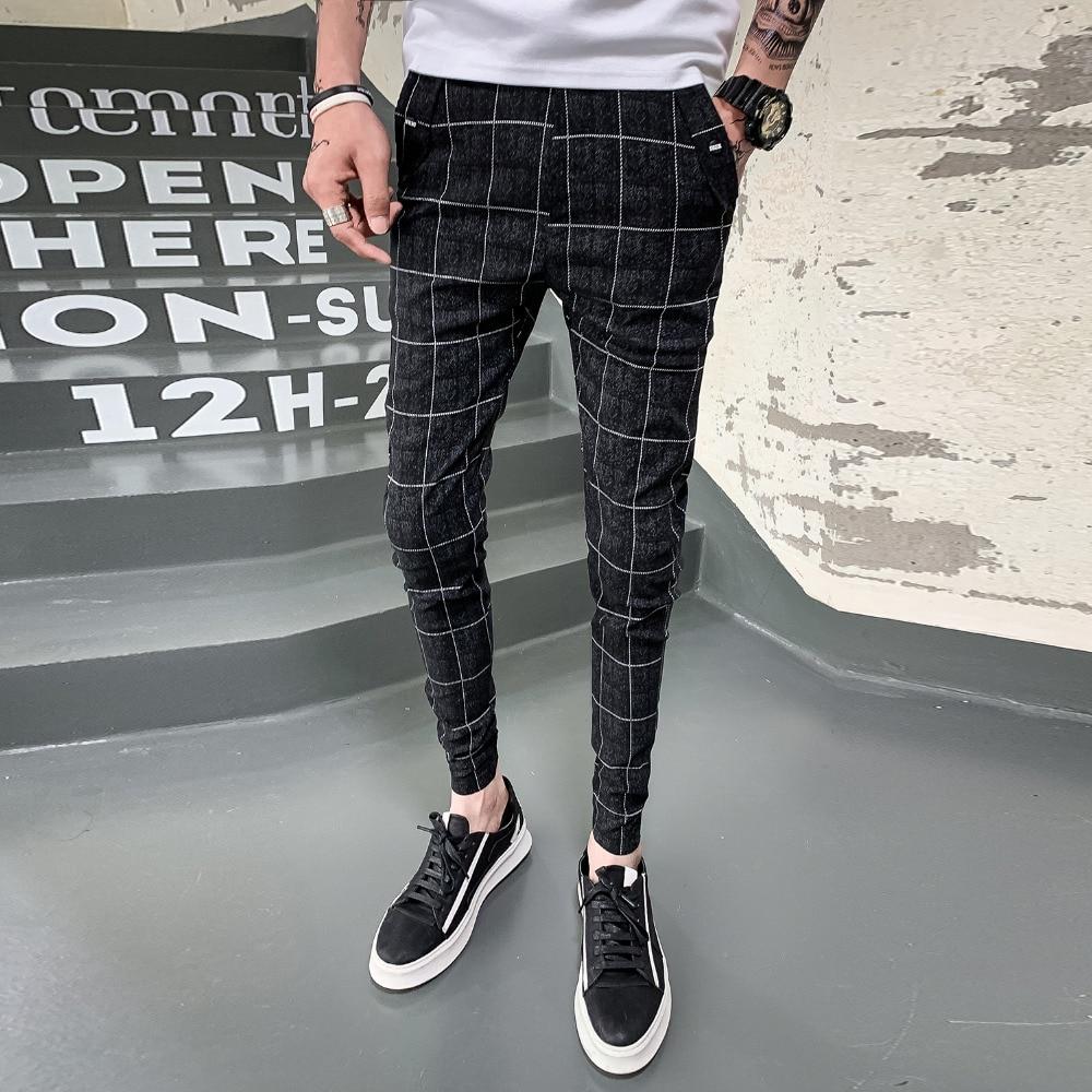 New Pants Men Slim Fit British Plaid Mens Pants Thin Fashion High Quality 2019 Summer Casual Young Man Hip Hop Trousers Men 36