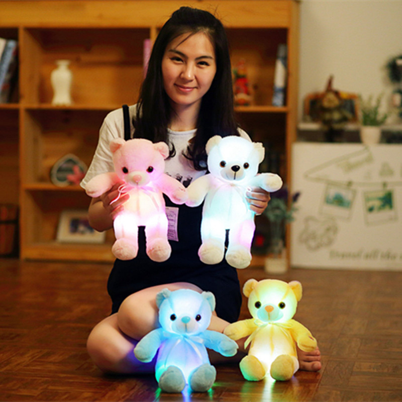 1pc 32cm Classic Luminous Bear Plush Toys Glowing LED Light Animal Toys Stuffed Colorful Doll Kawaii Kids Children's Girls Gift mini kawaii plush stuffed animal cartoon kids toys for girls children baby birthday christmas gift angela rabbit metoo doll
