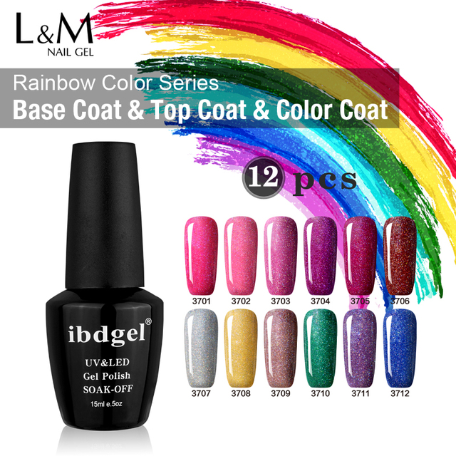 12 Pcs Rainbow Gel UV Nail Polish Set IBDGEL Brands Soak Off Nails Professional DIY Gel Cheap Use Uv Nail Lamp Wipe Top Coat