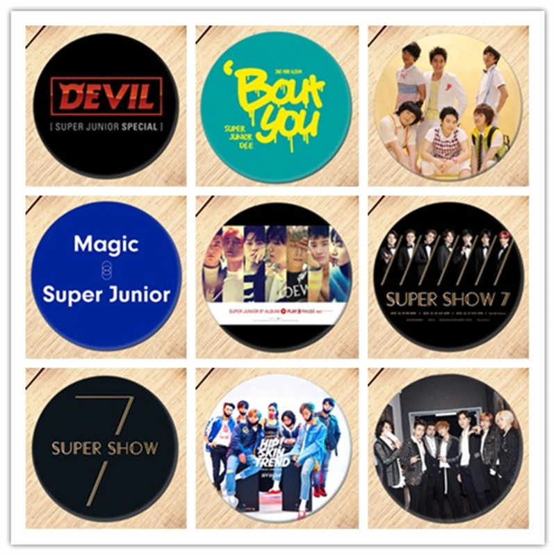 1pcs Kpop SUPER JUNIOR super show Badge Brooch Breastpin Collection Badges For Backpacks Decoration 19088
