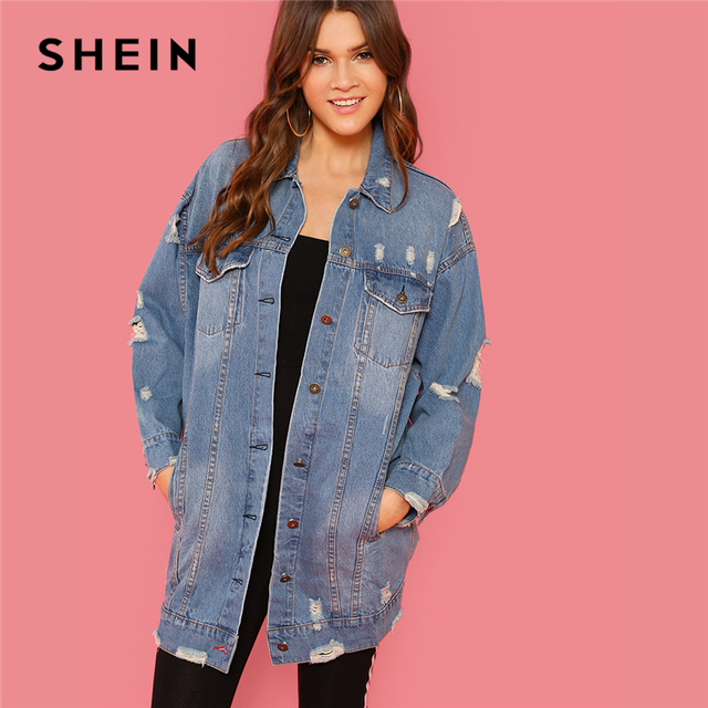 2187036dce SHEIN Blue Rock Highstreet Patched Buttoned Ripped Denim Long Minimalist Solid  Jacket 2018 Autumn Casual Women Coat Outerwear