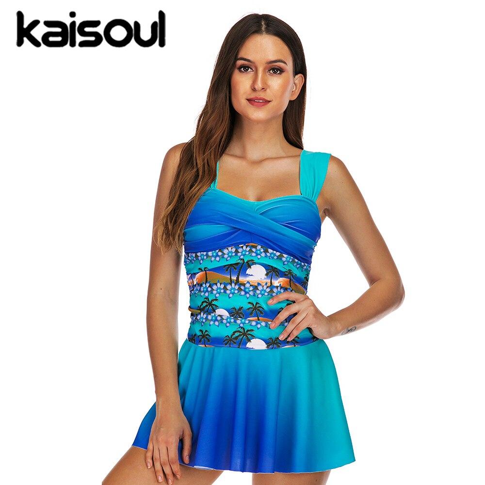 Sexy Bikini Swimwear Two Pieces Women Swimsuit Plus Size Push Up Print Swimming Beachwear New Arrival Vintage Padded Blue Palm