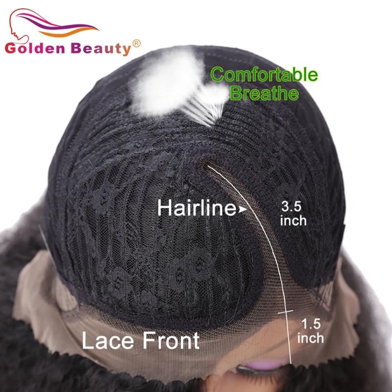 Golden Beauty 24inch Lång Kinky Straight Hair Side Part Lace Front - Syntetiskt hår - Foto 5