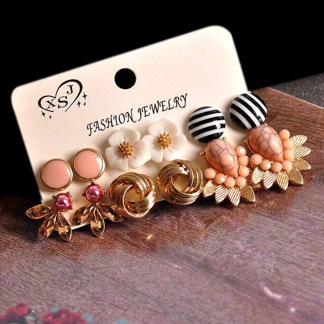 Brincos femininos dourados, joias rosa com formatos florais misturados 6 pares/set presentes 5