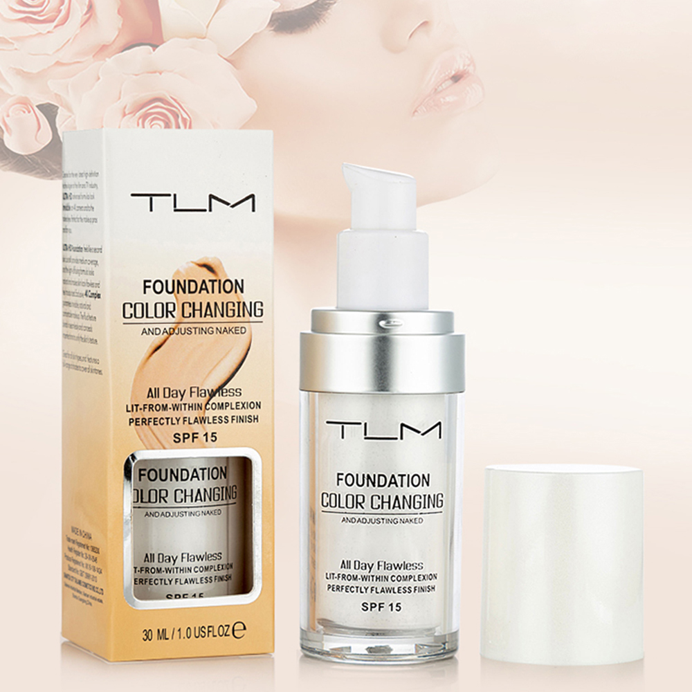 30ml Magic Color Changing TLM Foundation Base Change To Your Skin Tone By  Just Blending Nude Face Cover Concealer With Brush|Face Foundation| -  AliExpress