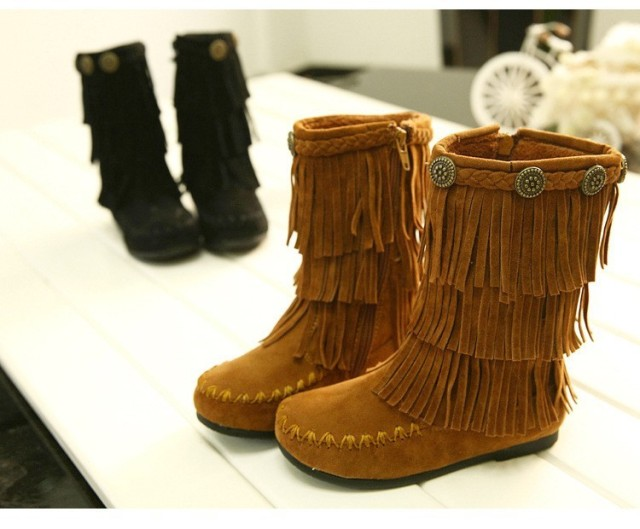 2017 New Genuine Leather Children Fringe Boots Winter Fall Shoes Outdoor Fashion kidsThickening of the Non-slip girls Boots