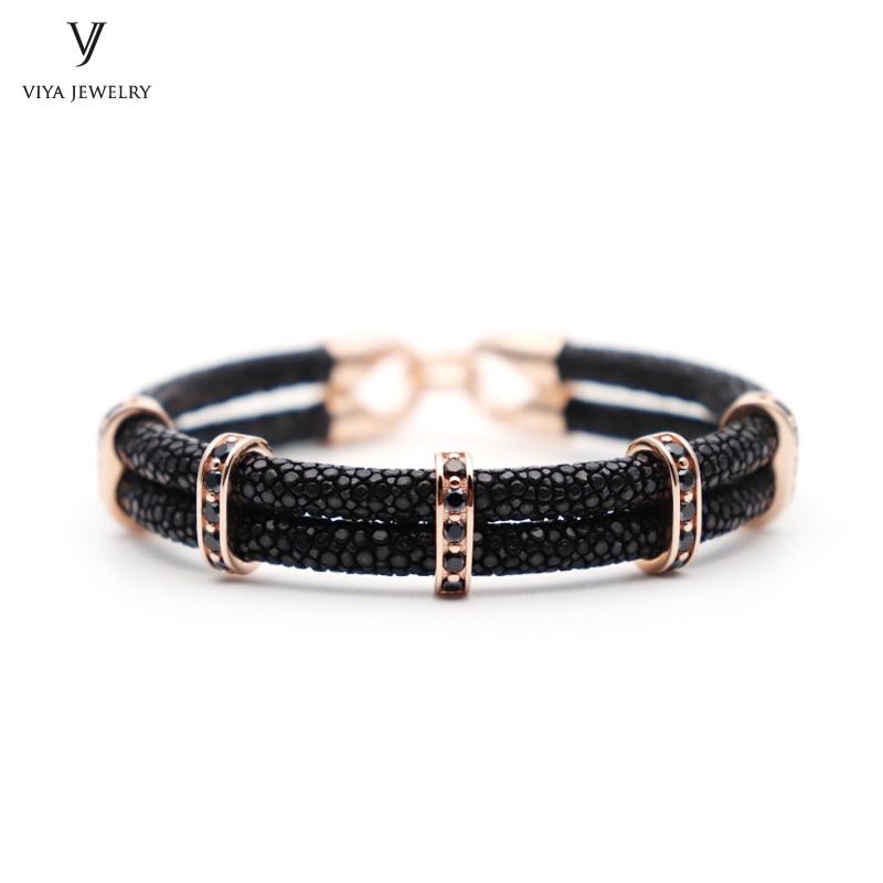 цена Luxury 925 Sterling Silver Jewelry Men DIY Bracelet Real Black Stingray Leather Bracelet Collocation Men's Watch For Vogue Man