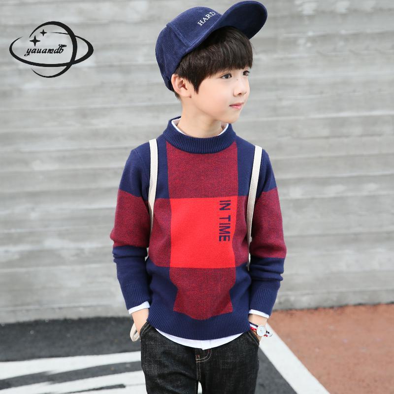 YAUAMDB kid sweater 2017 autumn spring 6-17Y boys cotton pullover children plaid O-Neck casual warm long sleeve clothes y66