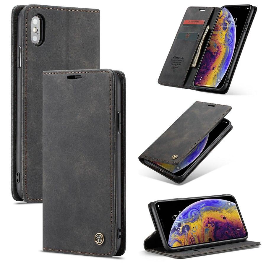 CaseMe Retro Caso A Carteira Para O iPhone x xs max Luxo PU TPU Cartão PC Couro Capa Magnética Para o iphone 6 s 7 8 Plus Caso Telefone Flip
