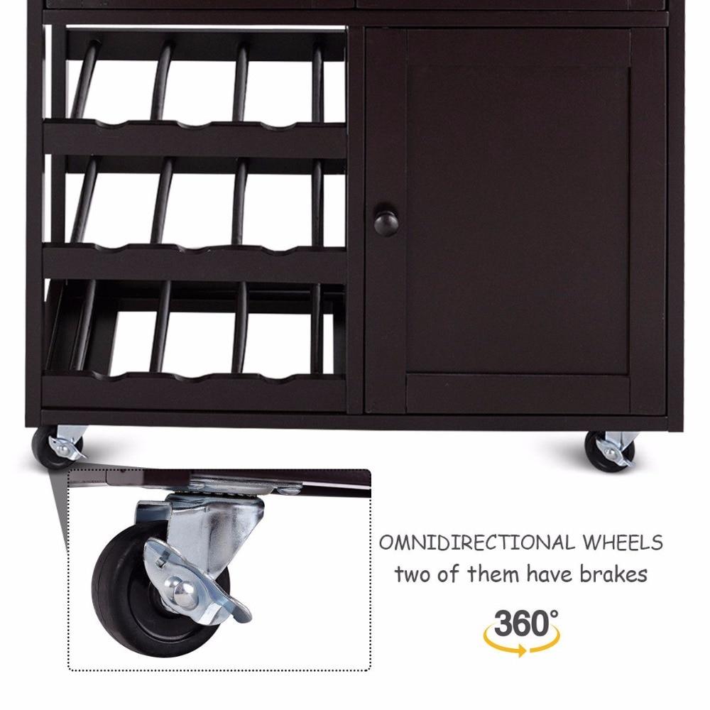 Giantex Modern Rolling Kitchen Cart Trolley Island Storage Cabinet w/Drawer&Wine Rack Dining Room Furniture HW56608BN 12