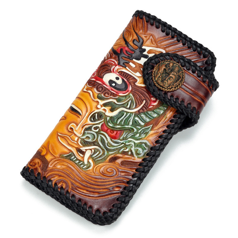 Handmade Knitting Men Genuine Leather Card Holder Bodhisattva Demon Wallets Bag Purses Clutch Vegetable Tanned Leather Wallet luxury brand handmade genuine cowhide vegetable tanned leather men wowen long slim wallet wallets purse card holder clutch bag