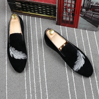 CuddlyIIPanda Brand Men Fashion Trending Shoes Men Slip on Casual Comfortable Loafers Feather Embroidered Leisure Driving Shoes