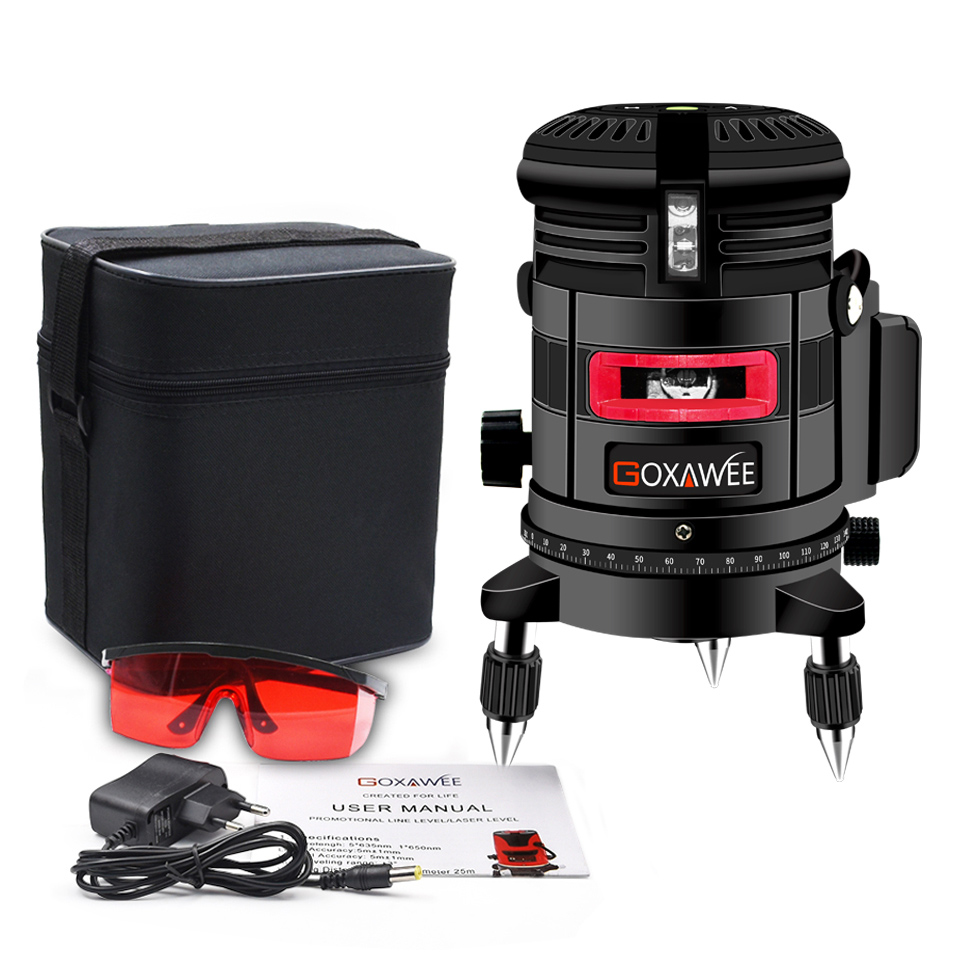 GOXAWEE Laser Level 5 Lines 6 Points Rotary Cross 360 Self-Levelling Outdoor Level Measuring Instruments Laser Construction Tool