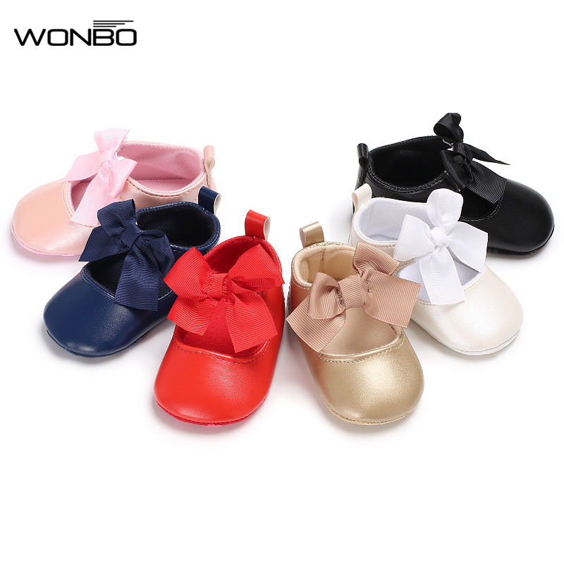 0-18M Toddler Baby Girl PVC Leather Princess Shoes Spring/Autumn Soft Bottom Shoes Bowknot Infant Prewalker New Born Baby Shoes