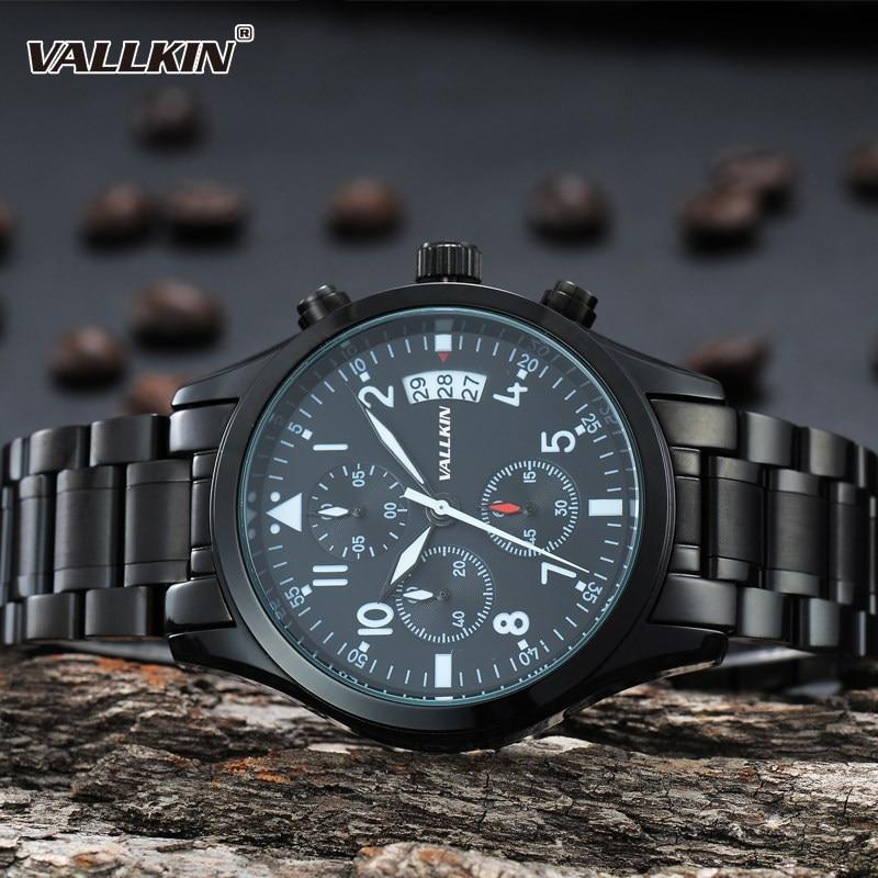 Mens de lujo negro relojes de pulsera masculina relojes de cuarzo - Relojes para hombres - foto 6