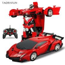 2 в 1 Спортивные RC модели автомобилей Трансформация Роботы пульт дистанционного управления деформация автомобиля RC роботы Детские игрушки Детские подарки на день рождения