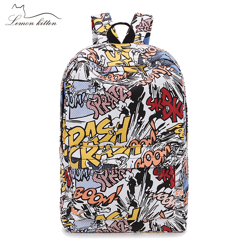 4aad241d65e New Women Backpack Hip-hop Cartoon Graffiti Canvas Backpack Girl Female  Travel Bag Mochila Rucksack