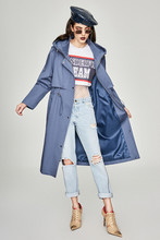 Classic hooded trench coat women 2019 Spring autumn Chic loose Windbreaker A166