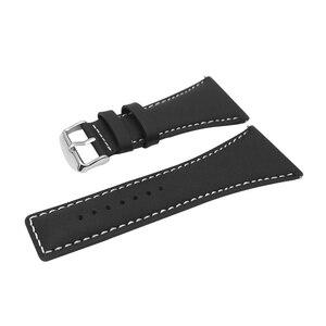 Image 2 - YQI 34 ミリメートルビッグサイズ時計バンド大幅ふくらはぎ本革時計バンド黒茶色の腕時計