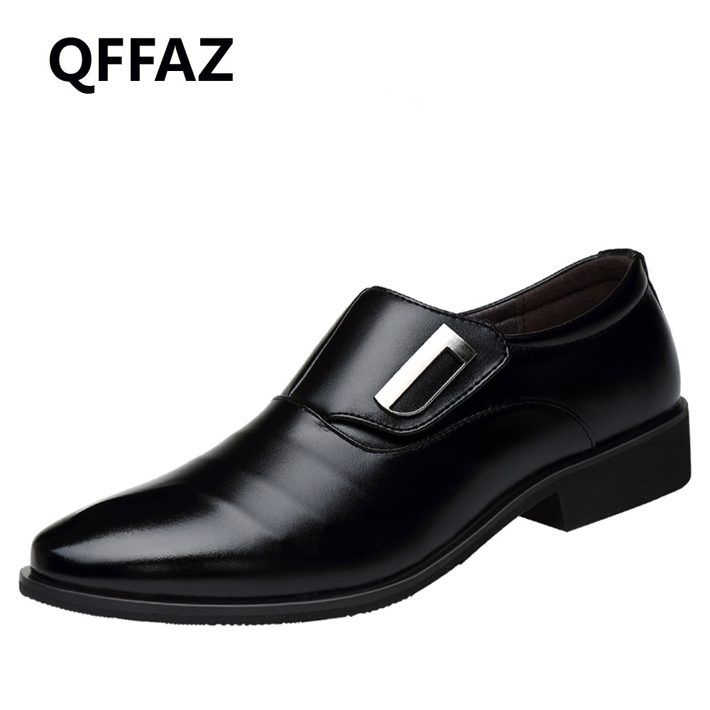 QFFAZ 2018 New Fashion Men Pointed Toe Wedding Shoes Oxfords Man Dress Leather Shoes Formal Zapatos Hombre Big size 38-48 patent leather men s business pointed toe shoes men oxfords lace up men wedding shoes dress shoe plus size 47 48