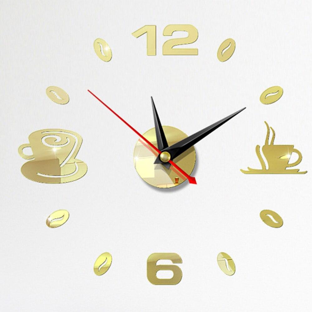 Self Adhesive Kitchen 3D Analog Home Waterproof Wall Clock Art DIY Mute Modern Mirror Coffee Cups Decor Acrylic 9