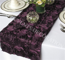 100pcs YHR#11 rosette satin table runner for any events decoration, customized size available