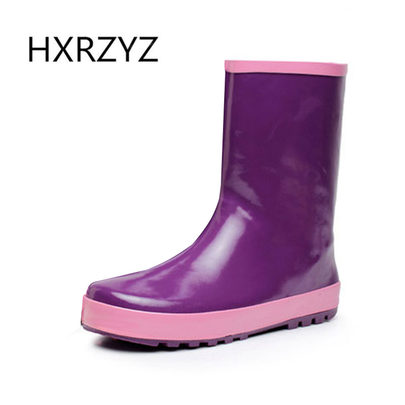 HXRZYZ women rubber boots spring autumn ankle rain boots hot new fashion female slip-resistant waterproof outdoor women's shoes new spring autumn rain boot woman ankle boots sexy women rain boots