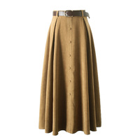 2019 New Arrival Suede Skirt Women Elegant Slim Single Breasted High Waist A line Ladies Skirts With Belt clothes