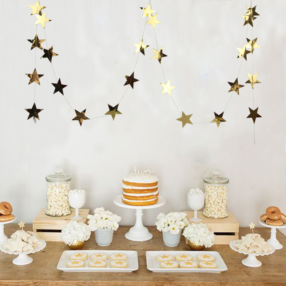 Foil Gold Star Garland Little Christmas for Baby Shower Wedding Birthday Party Decor