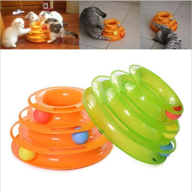 Three Levels Tower Tracks Plastic Disc Cat Pet Toy Intelligence Amusement Rides Shelf Cat Toy