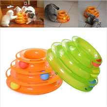 Three Levels Tower Tracks Plastic Disc Cat Pet Toy Intelligence Amusement Rides Shelf Cat Toy