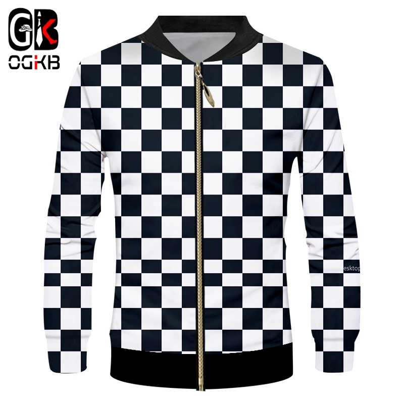 OGKB Men's Casual Jacket Long Sleeve Stand Collar Zipper Jackets Printed Black White Grid 3D Coats Man Fit Slim Fitness Overcoat