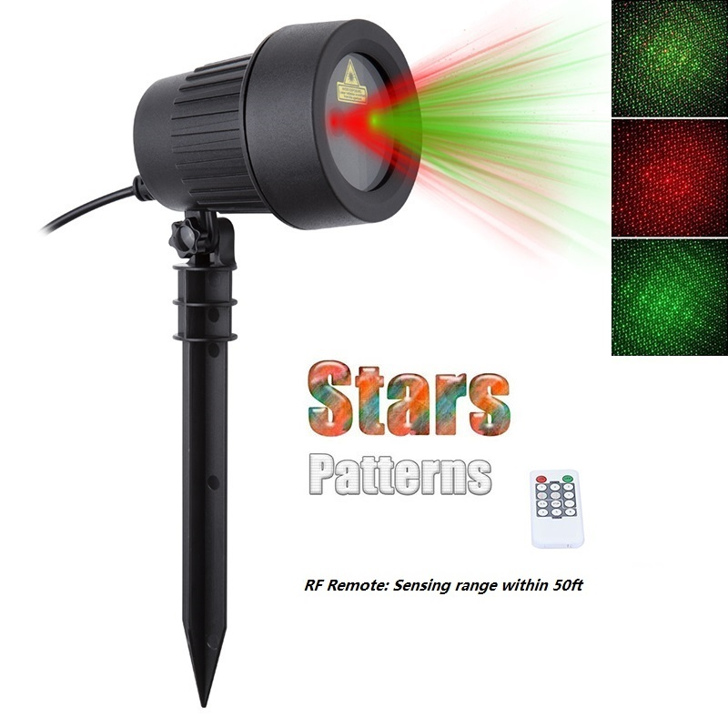 Christmas Laser Projector Stars Lights Red Green Static Twinkle RF Remote Waterproof IP65 Outdoor Garden showers Tree Decoration outdoor waterproof green lamp red garden tree laser landscape projector with 10 feet cable christmas lights star