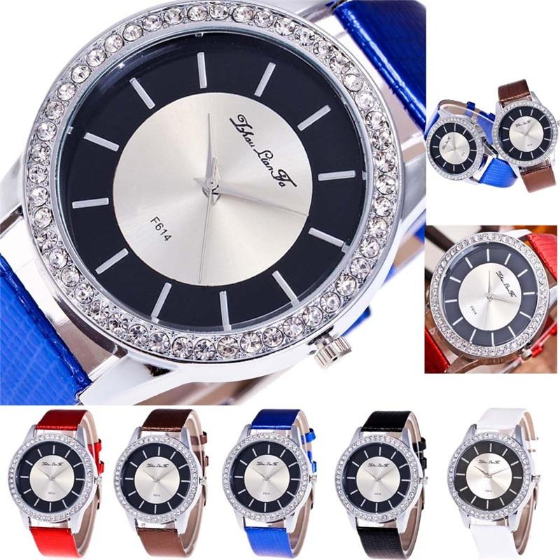 Часы женские Роскошные мужские кварцевые часы браслет Наручные часы для  женщин водонепроницаемый кожаный ремешок ... 12c0ee4619c1b