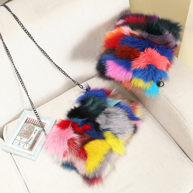 Nature fox fur women clutch bags 2017 patchwork blosa party bag chians shoulder bag zipper winter female purse crossbody bag