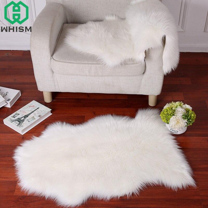 WHISM tapis de porte doux tapis en peau de mouton artificiel tapis de sol en fausse fourrure tapis Imitation laine Tapetes Alfombras paillasson de salon