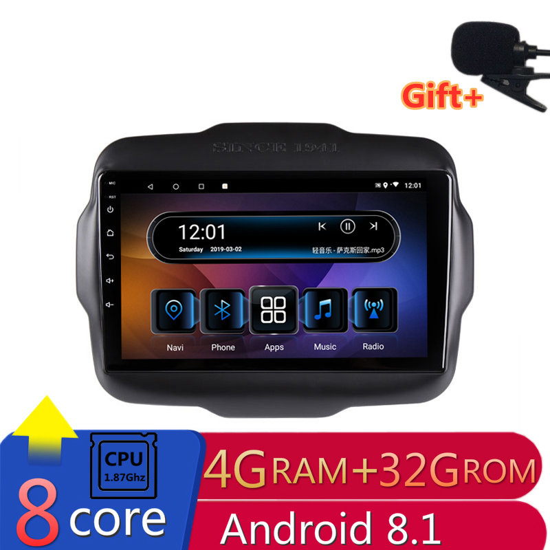 "9"" 4G RAM 2.5D IPS 8 core Android 8.1 Car DVD Multimedia Player GPS for Jeep Renegade 2015 2016 2017 audio car radio  navigation"