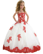 Elegant Applique Long Aqua Blue Pageant Ball Gowns For Girls at Party Girls Beautyful Glitz Pageant Flower Girl Dresses