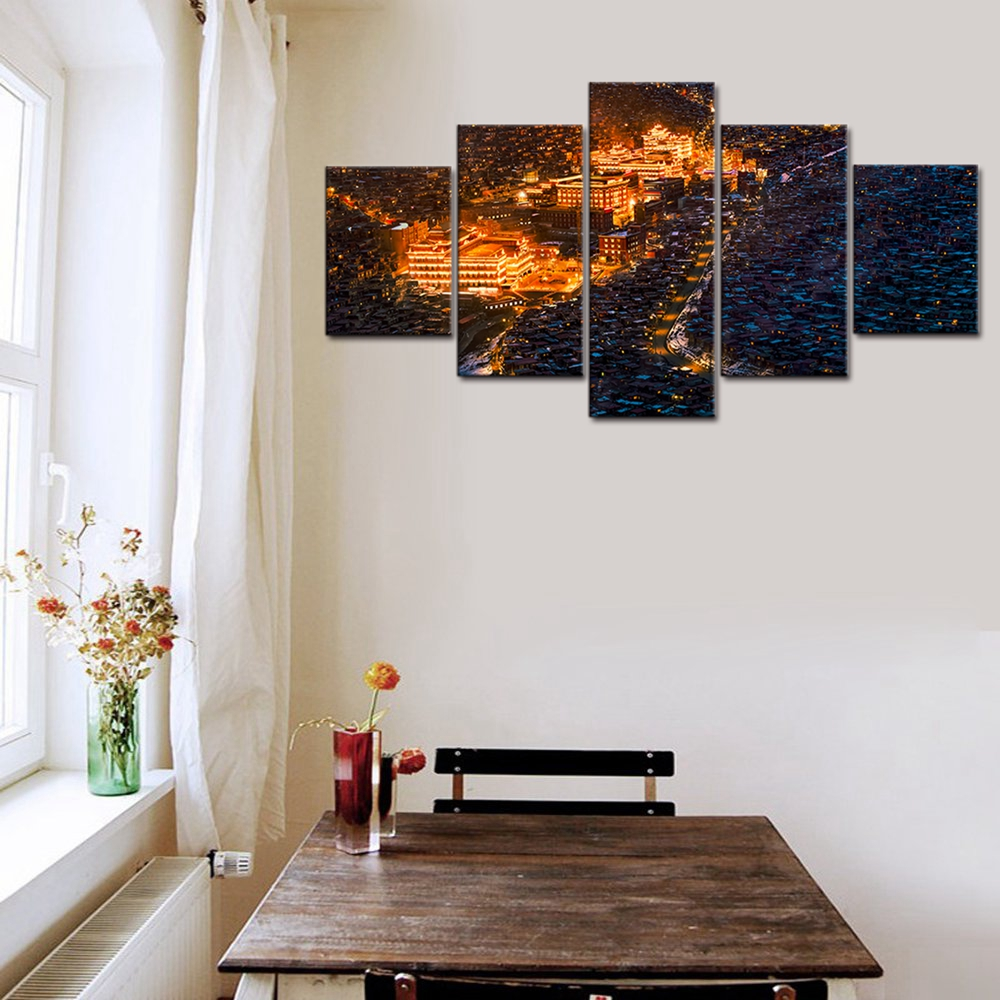 Gift Vintage Home Decor Night View Of Lhasa Wall Pictures