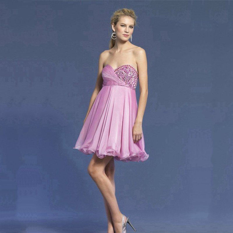Beadsruched 8th Grade Prom Dresses Cute Pink Off The Shoulder Semi