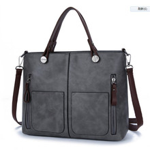 ONEFULL NEW FASHION  female vintage pu leather double pocket solid zipper shoulder bag scrub skin ladies handbag bags