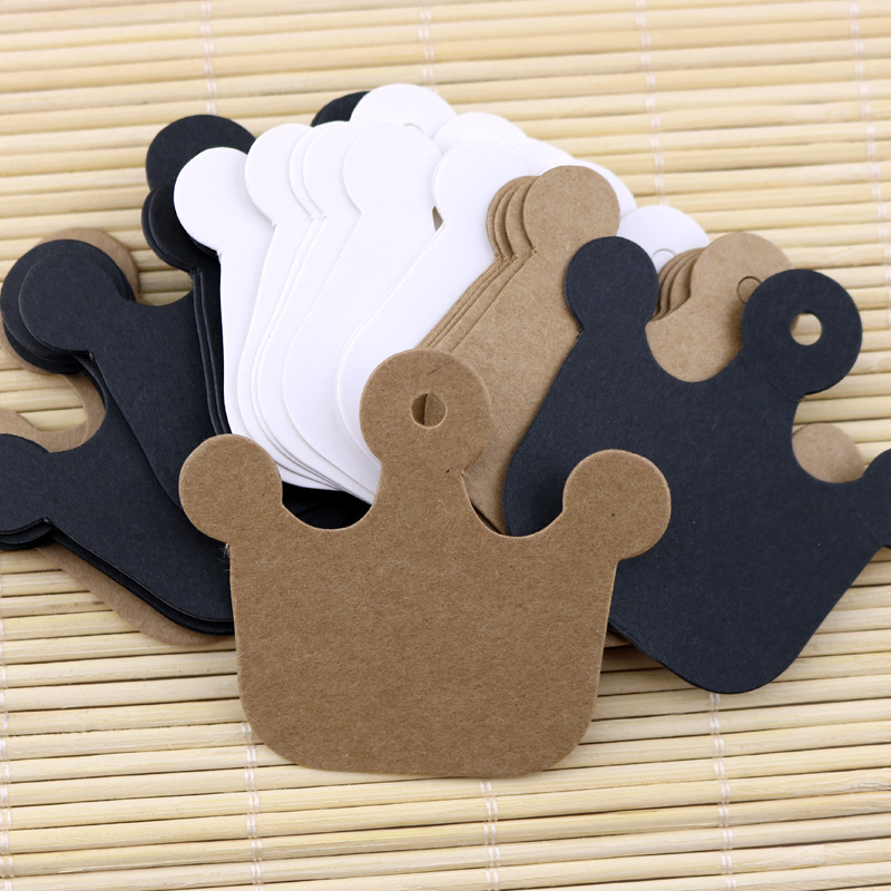 100pcs 6*5.5cm No Printing Kraft Paper Blank Card Crown Shaped Tag Jewelry Tag Accessories