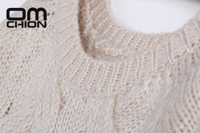 OMCHION Pull Femme Winter 2018 Autumn O Neck Oversized Knitted Mohair  Sweater Women Long Sleeve Twist Slim Korean Pullover LS24 7a29a0c77