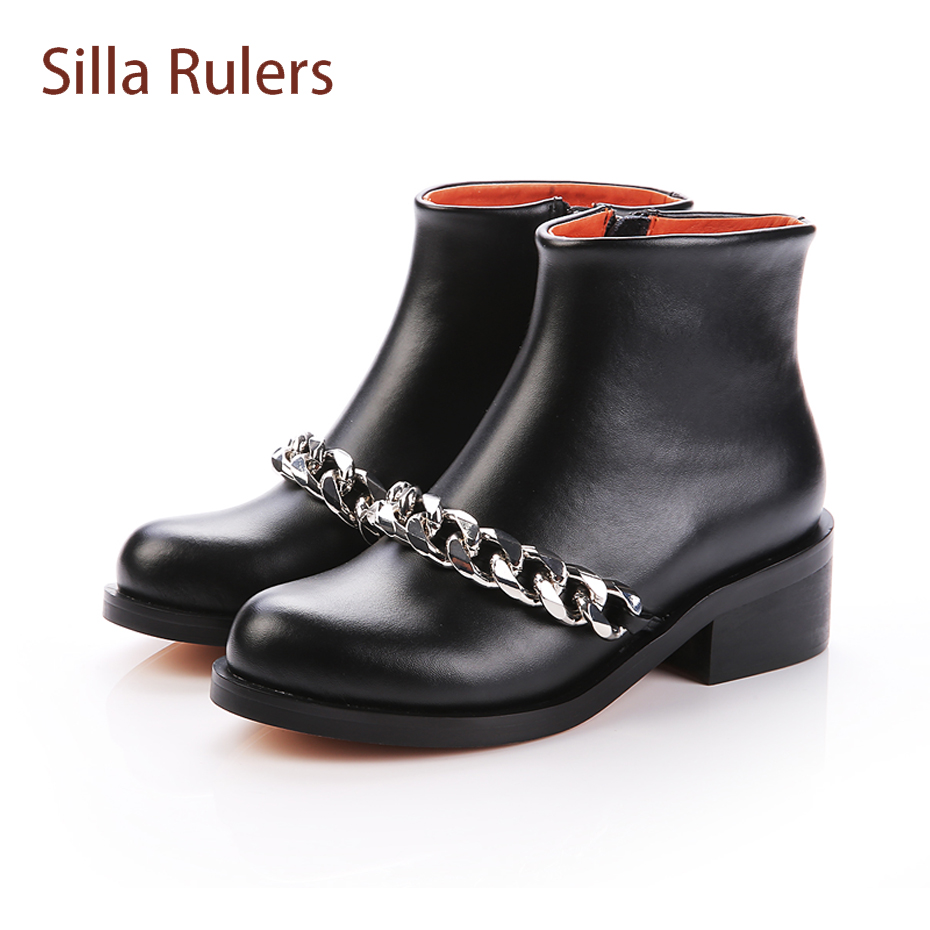 Silla Rulers Fall Winter Women Ankle Boots Med Heel Metal Chain Decor Knight Boots Genuine Leather Fashion Martin Boots Feminina stylish casual pure color and metal chain design women s knight boots