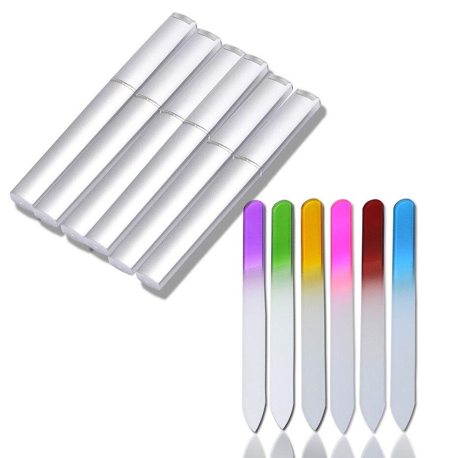 6PCS Glass Nail Files Manicure Device Nail File Buffer Cuticle Cleaner Nail Art Decorations Pro Tool